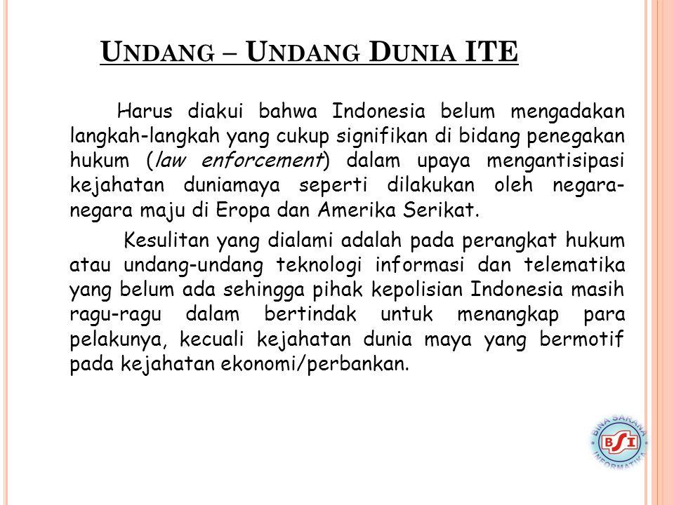U NDANG – U NDANG D UNIA ITE Harus diakui bahwa Indonesia belum mengadakan langkah-langkah yang cukup signifikan di bidang penegakan hukum (law enforc