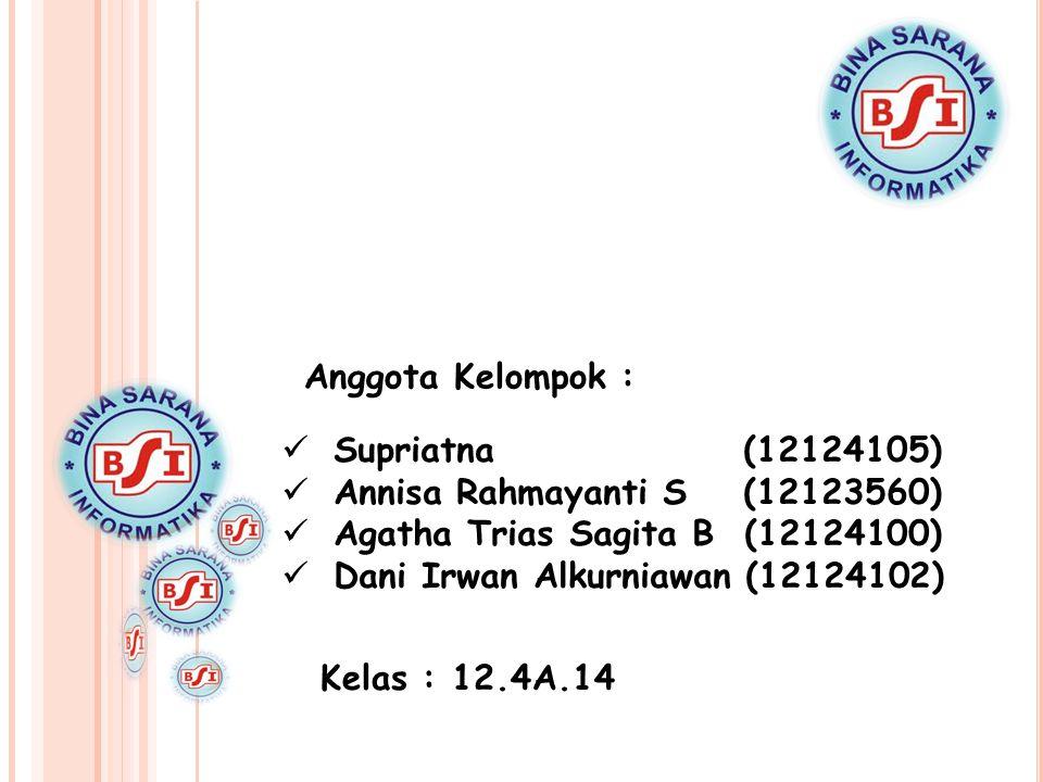 Anggota Kelompok :  Supriatna (12124105)  Annisa Rahmayanti S (12123560)  Agatha Trias Sagita B (12124100)  Dani Irwan Alkurniawan (12124102) Kela