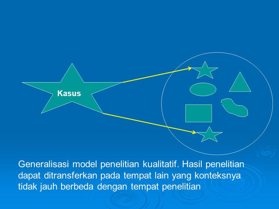 Kasus Generalisasi model penelitian kualitatif. Hasil penelitian dapat ditransferkan pada tempat lain yang konteksnya tidak jauh berbeda dengan tempat