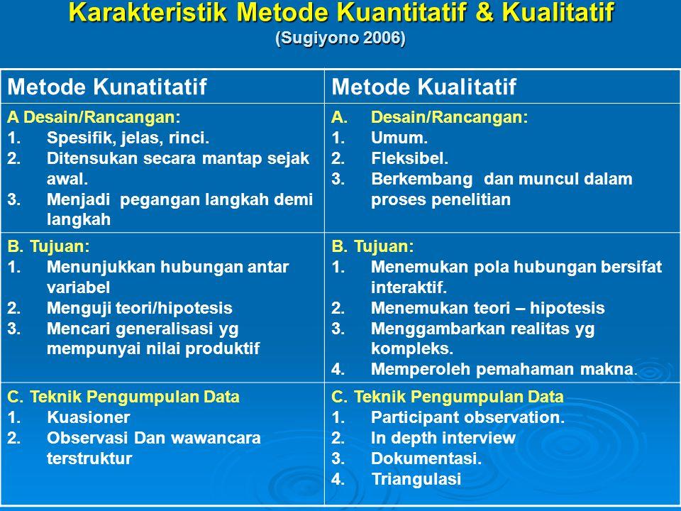 Metode KunatitatifMetode Kualitatif A Desain/Rancangan: 1.Spesifik, jelas, rinci. 2.Ditensukan secara mantap sejak awal. 3.Menjadi pegangan langkah de
