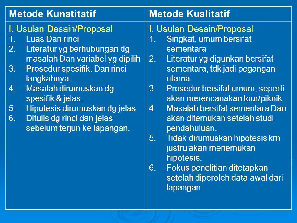 Metode KunatitatifMetode Kualitatif I. Usulan Desain/Proposal 1.Luas Dan rinci 2.Literatur yg berhubungan dg masalah Dan variabel yg dipilih 3.Prosedu