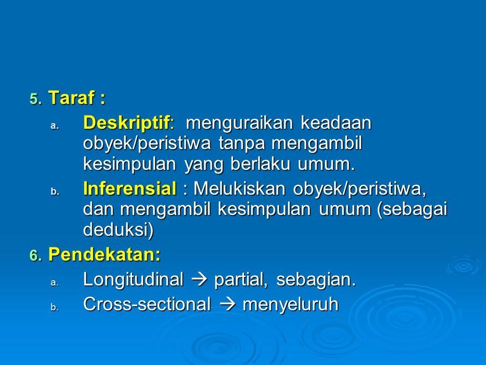 5. Taraf : a. Deskriptif: menguraikan keadaan obyek/peristiwa tanpa mengambil kesimpulan yang berlaku umum. b. Inferensial : Melukiskan obyek/peristiw