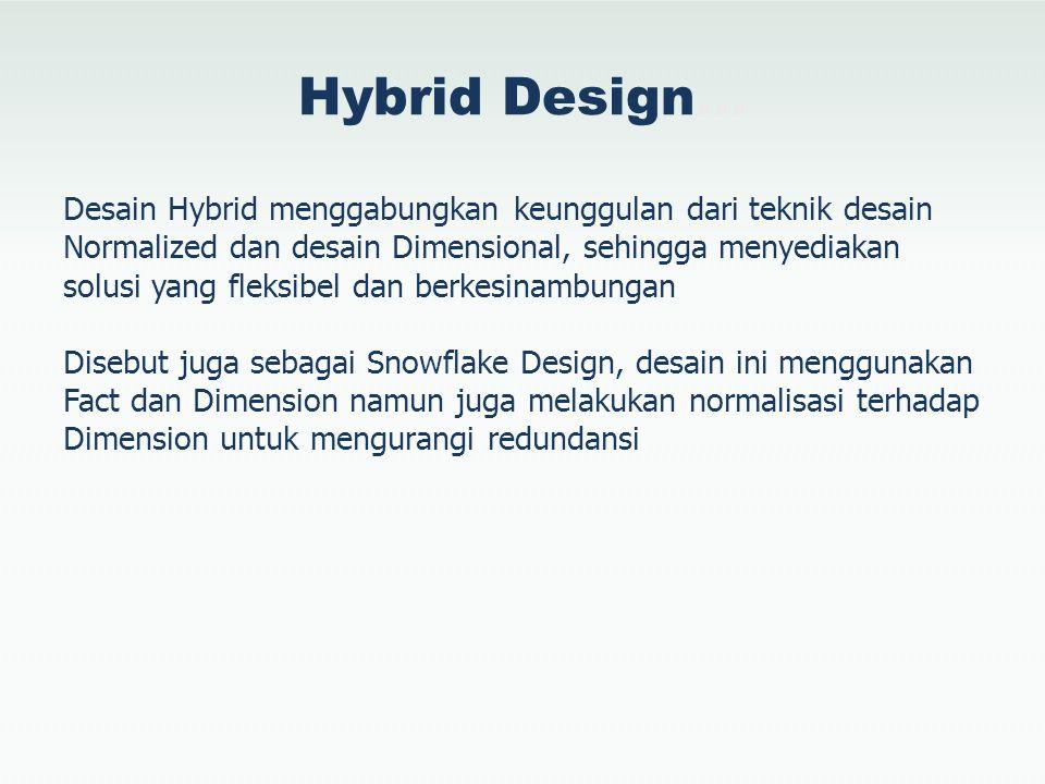 Hybrid Design… Desain Hybrid menggabungkan keunggulan dari teknik desain Normalized dan desain Dimensional, sehingga menyediakan solusi yang fleksibel