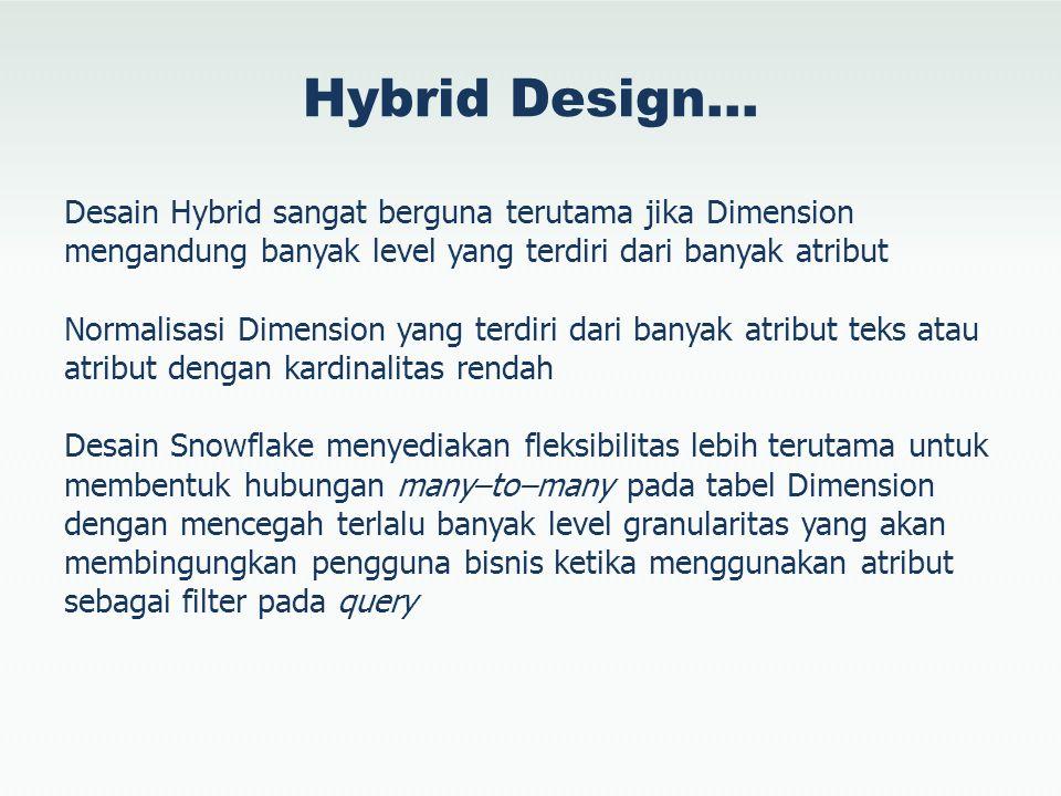Hybrid Design… Desain Hybrid sangat berguna terutama jika Dimension mengandung banyak level yang terdiri dari banyak atribut Normalisasi Dimension yan