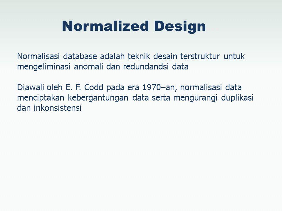 Normalized Design… Normalisasi database adalah teknik desain terstruktur untuk mengeliminasi anomali dan redundandsi data Diawali oleh E. F. Codd pada