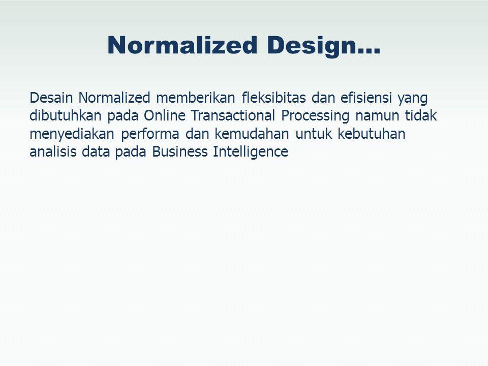 Normalized Design… Pada awal era 1990–an, Bill Inmon membuat landasan untuk konstruksi Data Warehouse yang didasarkan pada bentuk normalisasi ketiga (3NF)