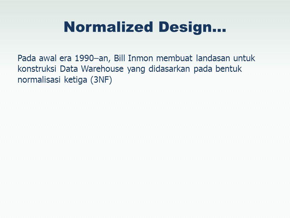 Normalized Design… Pada awal era 1990–an, Bill Inmon membuat landasan untuk konstruksi Data Warehouse yang didasarkan pada bentuk normalisasi ketiga (