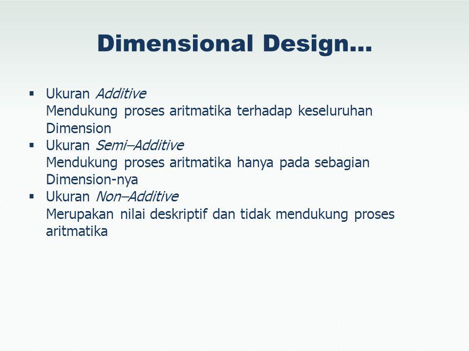 Dimensional Design…  Ukuran Additive Mendukung proses aritmatika terhadap keseluruhan Dimension  Ukuran Semi–Additive Mendukung proses aritmatika ha
