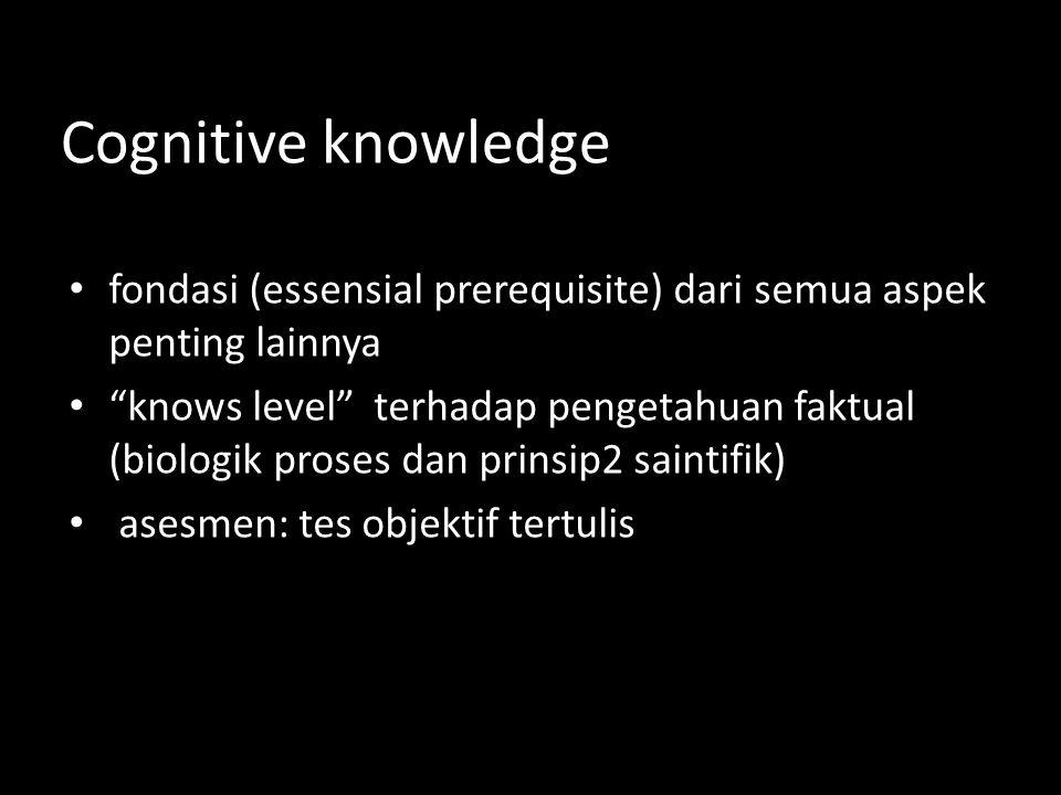 Cognitive knowledge • fondasi (essensial prerequisite) dari semua aspek penting lainnya • knows level terhadap pengetahuan faktual (biologik proses dan prinsip2 saintifik) • asesmen: tes objektif tertulis