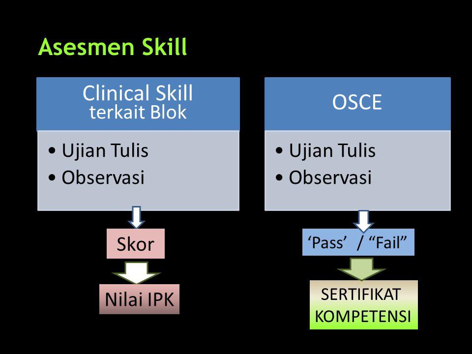 Asesmen Skill Clinical Skill terkait Blok •Ujian Tulis •Observasi OSCE •Ujian Tulis •Observasi 'Pass' / Fail SERTIFIKAT KOMPETENSI Skor Nilai IPK