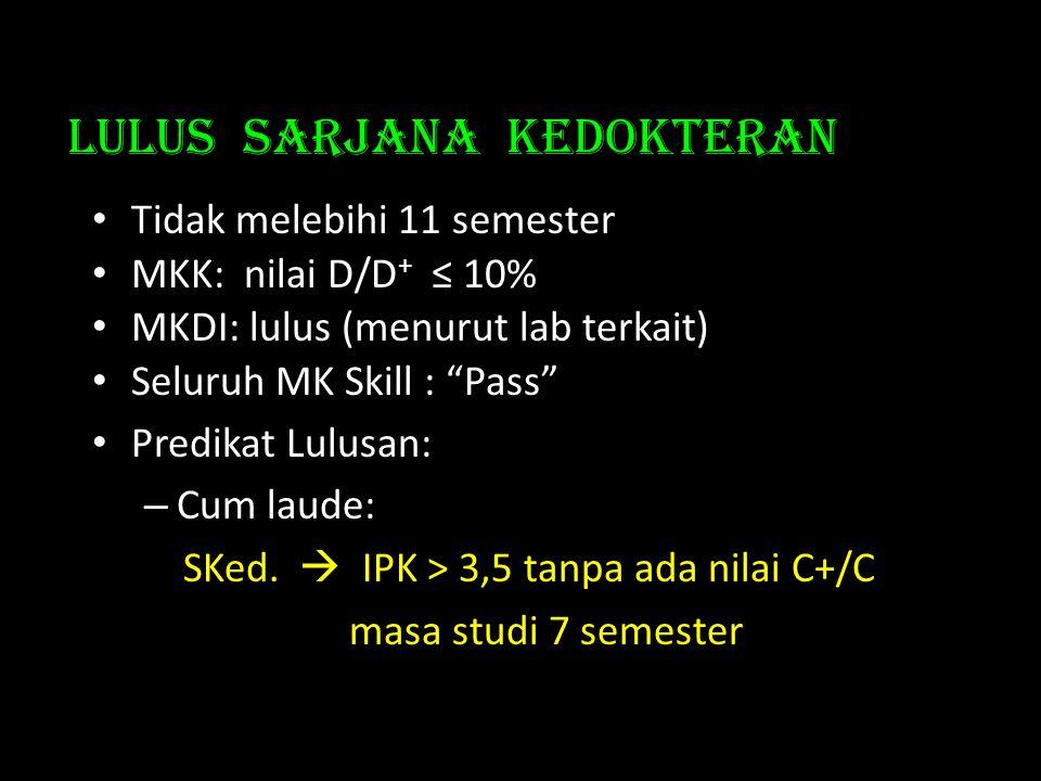 Lulus Sarjana kedokteran • Tidak melebihi 11 semester • MKK: nilai D/D + ≤ 10% • MKDI: lulus (menurut lab terkait) • Seluruh MK Skill : Pass • Predikat Lulusan: – Cum laude: SKed.