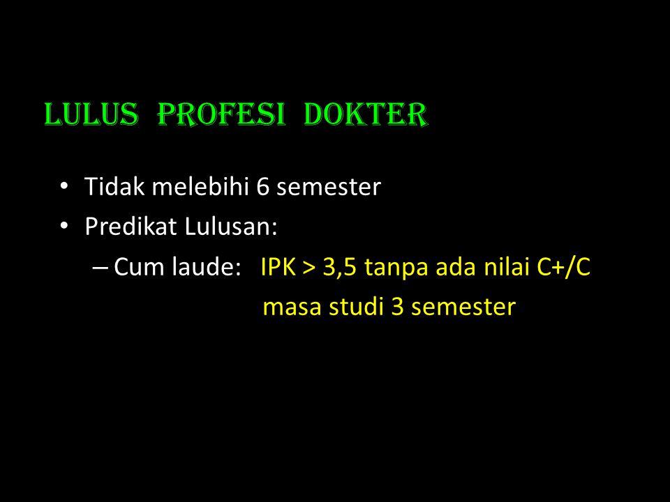 Lulus PROFESI dokter • Tidak melebihi 6 semester • Predikat Lulusan: – Cum laude:IPK > 3,5 tanpa ada nilai C+/C masa studi 3 semester