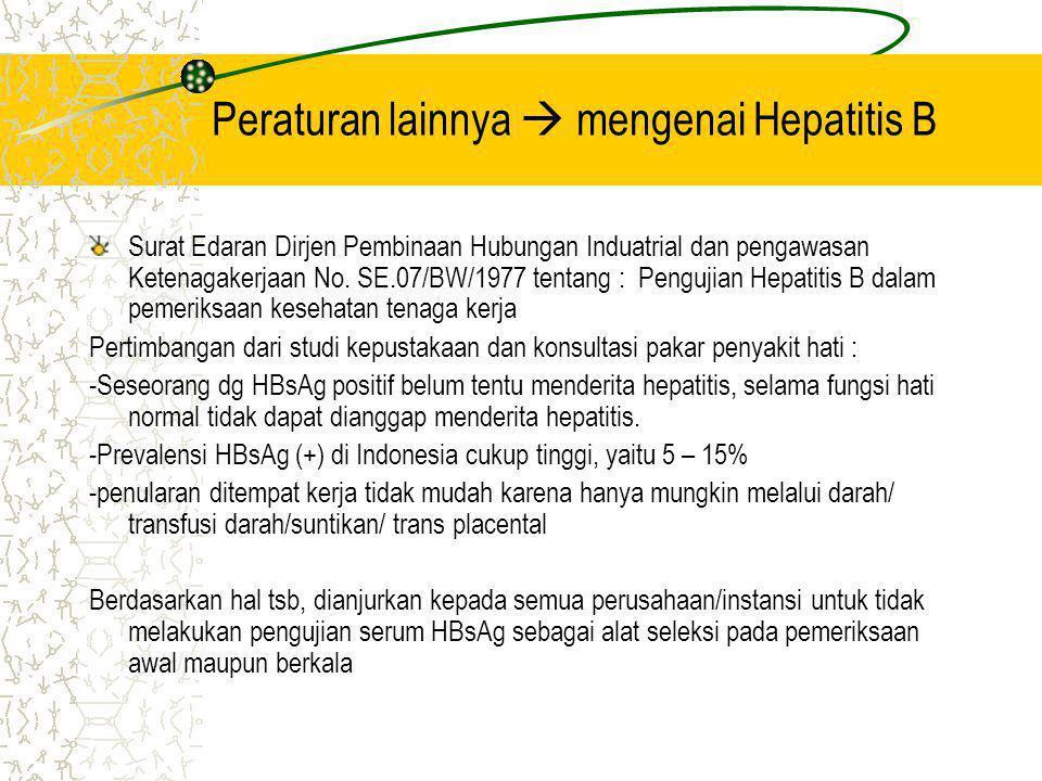 Peraturan lainnya  mengenai Hepatitis B Surat Edaran Dirjen Pembinaan Hubungan Induatrial dan pengawasan Ketenagakerjaan No. SE.07/BW/1977 tentang :