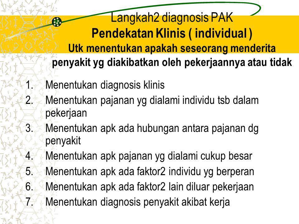 Langkah2 diagnosis PAK Pendekatan Klinis ( individual ) Utk menentukan apakah seseorang menderita penyakit yg diakibatkan oleh pekerjaannya atau tidak