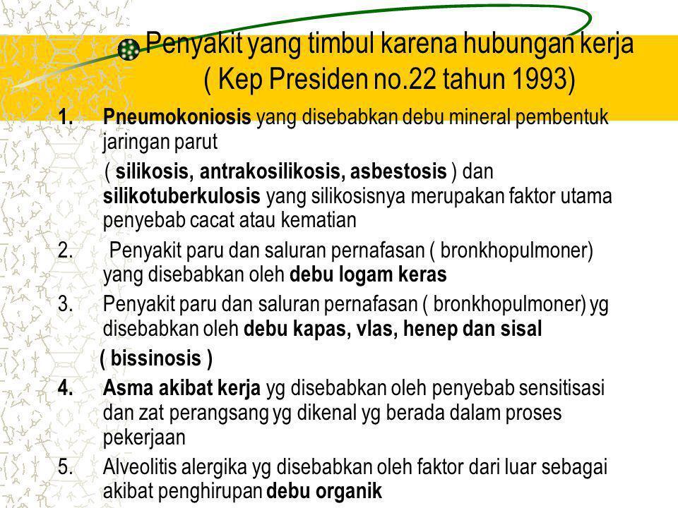 Penyakit yang timbul karena hubungan kerja ( Kep Presiden no.22 tahun 1993) 1.Pneumokoniosis yang disebabkan debu mineral pembentuk jaringan parut ( silikosis, antrakosilikosis, asbestosis ) dan silikotuberkulosis yang silikosisnya merupakan faktor utama penyebab cacat atau kematian 2.