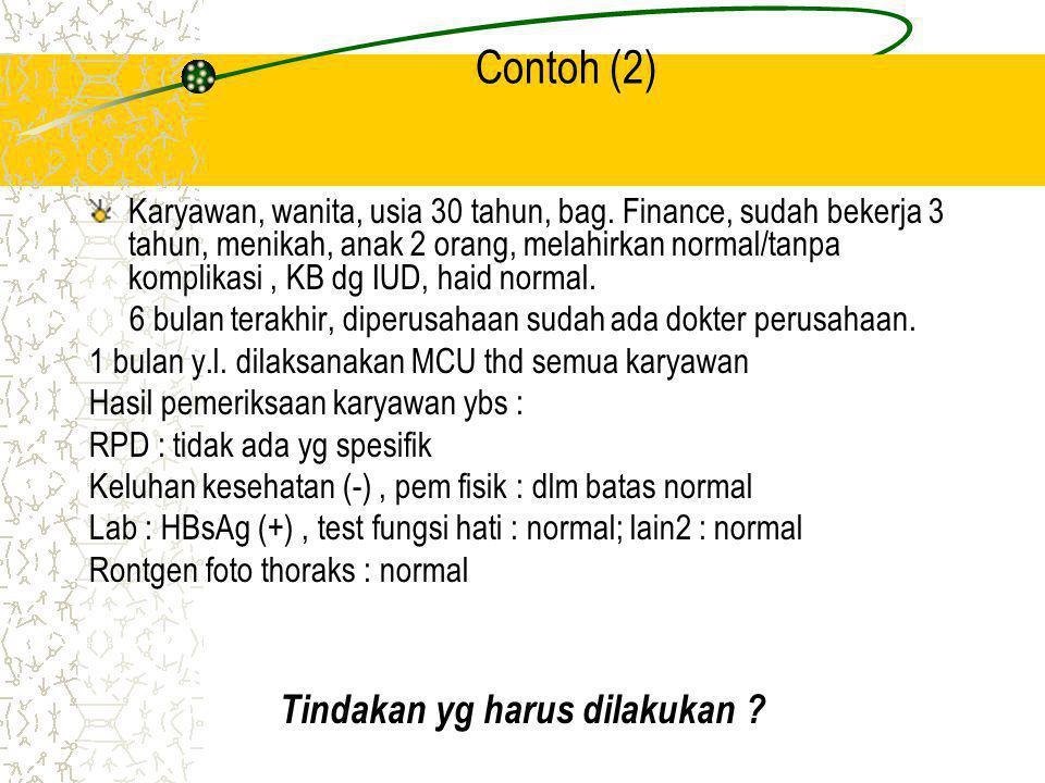 Contoh (2) Karyawan, wanita, usia 30 tahun, bag. Finance, sudah bekerja 3 tahun, menikah, anak 2 orang, melahirkan normal/tanpa komplikasi, KB dg IUD,