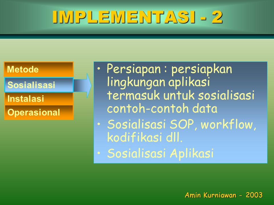 •Persiapan : persiapkan lingkungan aplikasi termasuk untuk sosialisasi contoh-contoh data •Sosialisasi SOP, workflow, kodifikasi dll.