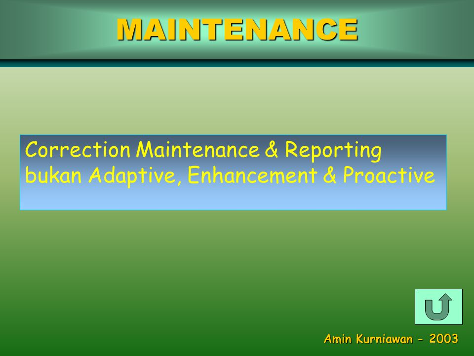 MAINTENANCE Correction Maintenance & Reporting bukan Adaptive, Enhancement & Proactive Amin Kurniawan - 2003
