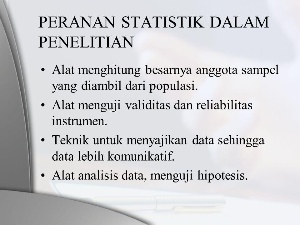 PERANAN STATISTIK DALAM PENELITIAN •Alat menghitung besarnya anggota sampel yang diambil dari populasi. •Alat menguji validitas dan reliabilitas instr