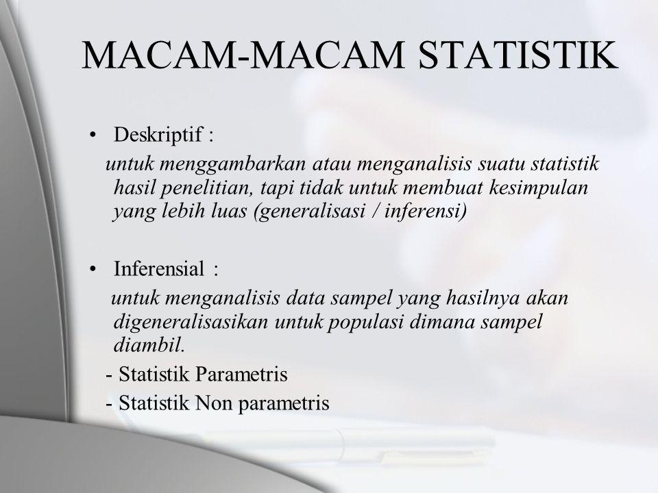 MACAM-MACAM STATISTIK •Deskriptif : untuk menggambarkan atau menganalisis suatu statistik hasil penelitian, tapi tidak untuk membuat kesimpulan yang l
