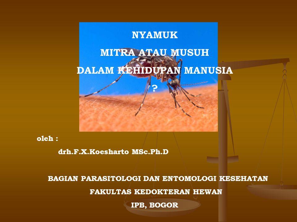NYAMUK MITRA ATAU MUSUH DALAM KEHIDUPAN MANUSIA ? oleh : drh.F.X.Koesharto MSc.Ph.D BAGIAN PARASITOLOGI DAN ENTOMOLOGI KESEHATAN FAKULTAS KEDOKTERAN H