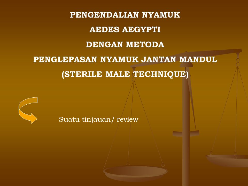 PENGENDALIAN NYAMUK AEDES AEGYPTI DENGAN METODA PENGLEPASAN NYAMUK JANTAN MANDUL (STERILE MALE TECHNIQUE) Suatu tinjauan/ review