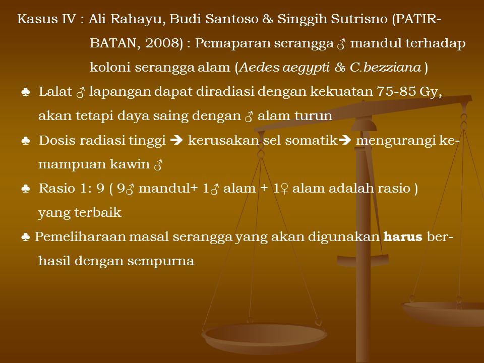 Kasus IV : Ali Rahayu, Budi Santoso & Singgih Sutrisno (PATIR- BATAN, 2008) : Pemaparan serangga ♂ mandul terhadap koloni serangga alam ( Aedes aegypt