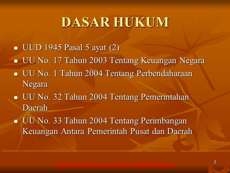 KOMITE STANDAR AKUNTANSI PEMERINTAHAN 1 PERATURAN PEMERINTAH NO 24 tahun 2005 TENTANG STANDAR AKUNTANSI PEMERINTAHAN