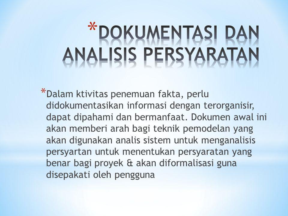 * Dalam ktivitas penemuan fakta, perlu didokumentasikan informasi dengan terorganisir, dapat dipahami dan bermanfaat. Dokumen awal ini akan memberi ar