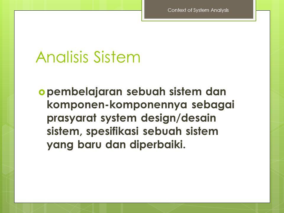 Analisis Sistem  pembelajaran sebuah sistem dan komponen-komponennya sebagai prasyarat system design/desain sistem, spesifikasi sebuah sistem yang ba