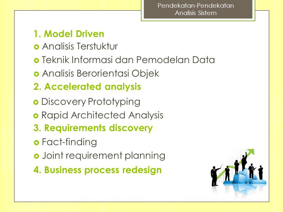 1. Model Driven  Analisis Terstuktur  Teknik Informasi dan Pemodelan Data  Analisis Berorientasi Objek 2. Accelerated analysis  Discovery Prototyp