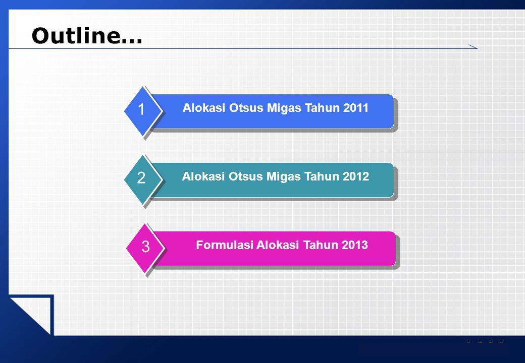 LOGO Outline… Alokasi Otsus Migas Tahun 2011 1 Alokasi Otsus Migas Tahun 2012 2 Formulasi Alokasi Tahun 2013 3