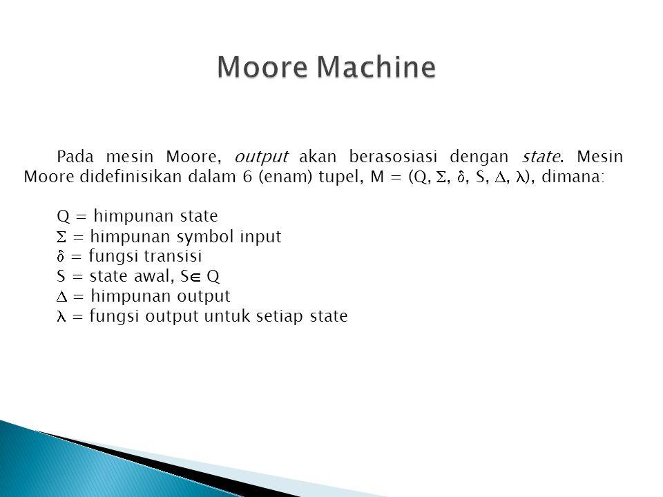 Pada mesin Moore, output akan berasosiasi dengan state. Mesin Moore didefinisikan dalam 6 (enam) tupel, M = (Q, , , S, ,  ), dimana: Q = himpunan