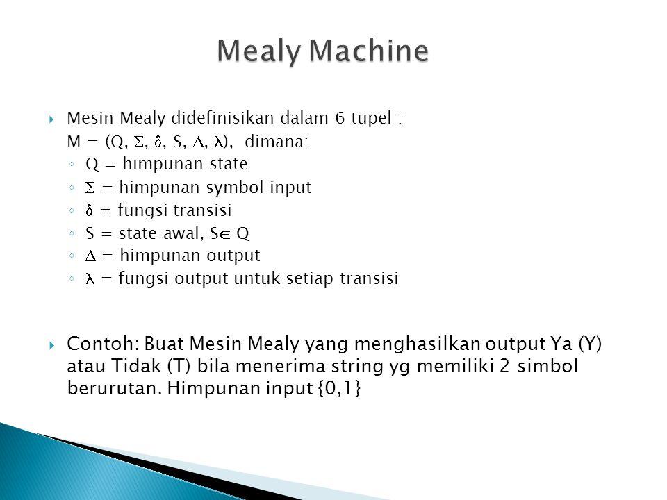  Mesin Mealy didefinisikan dalam 6 tupel : M = (Q, , , S, ,  ), dimana: ◦ Q = himpunan state ◦ = himpunan symbol input ◦ = fungsi transisi ◦ S = state awal, S  Q ◦ = himpunan output ◦ = fungsi output untuk setiap transisi  Contoh: Buat Mesin Mealy yang menghasilkan output Ya (Y) atau Tidak (T) bila menerima string yg memiliki 2 simbol berurutan.