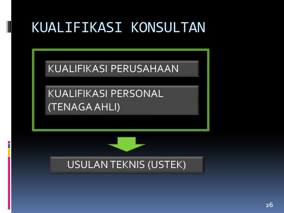 KUALIFIKASI KONSULTAN 26 KUALIFIKASI PERUSAHAAN KUALIFIKASI PERSONAL (TENAGA AHLI) USULAN TEKNIS (USTEK)