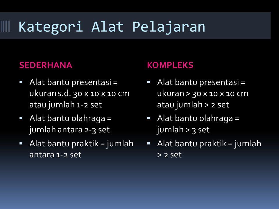 Kategori Alat Pelajaran SEDERHANAKOMPLEKS  Alat bantu presentasi = ukuran s.d. 30 x 10 x 10 cm atau jumlah 1-2 set  Alat bantu olahraga = jumlah ant