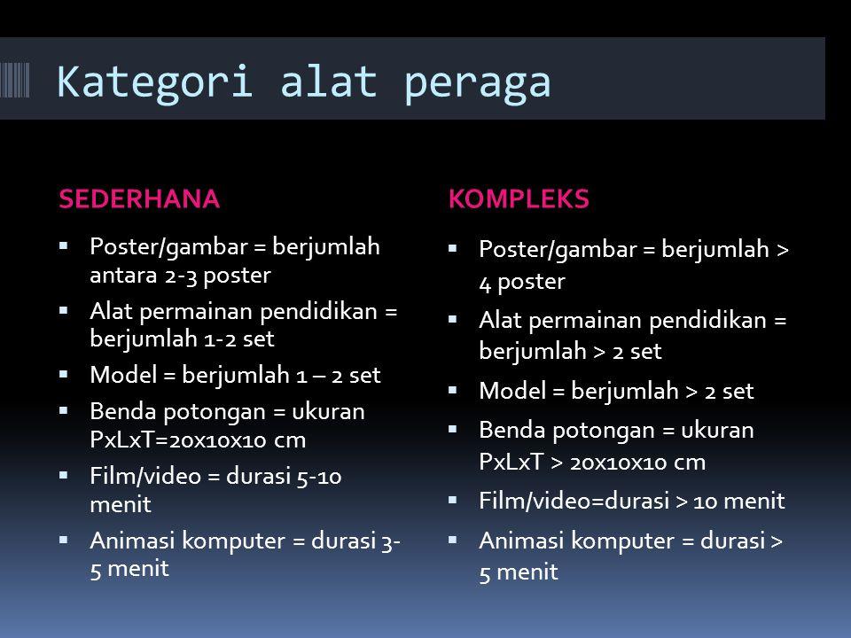 Kategori alat peraga SEDERHANAKOMPLEKS  Poster/gambar = berjumlah antara 2-3 poster  Alat permainan pendidikan = berjumlah 1-2 set  Model = berjuml