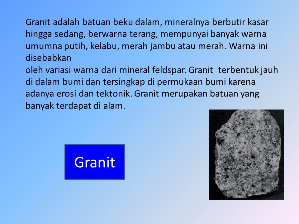 Granit adalah batuan beku dalam, mineralnya berbutir kasar hingga sedang, berwarna terang, mempunyai banyak warna umumna putih, kelabu, merah jambu at
