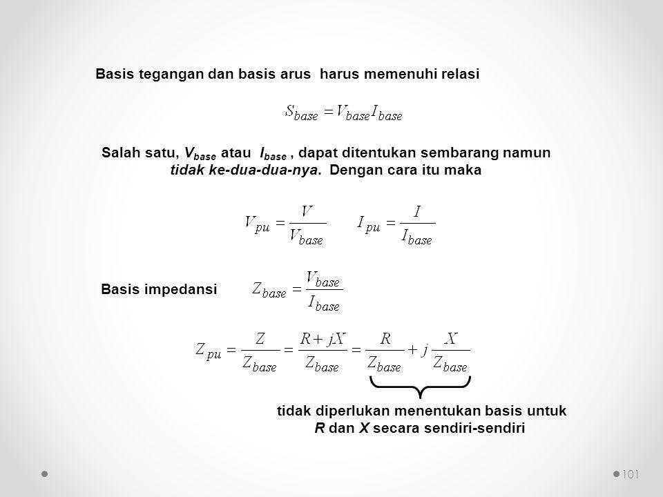 Salah satu, V base atau I base, dapat ditentukan sembarang namun tidak ke-dua-dua-nya. Dengan cara itu maka Basis impedansi Basis tegangan dan basis a