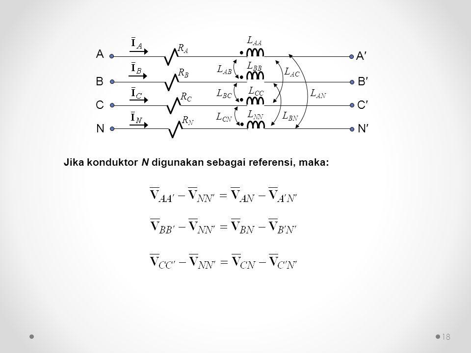    L AB L BC RCRC  L AA L BB L CC L NN L CN L AC L BN L AN RARA RBRB RNRN A B C NN′ C′ B′ A′ Jika konduktor N digunakan sebagai referensi, maka: 1