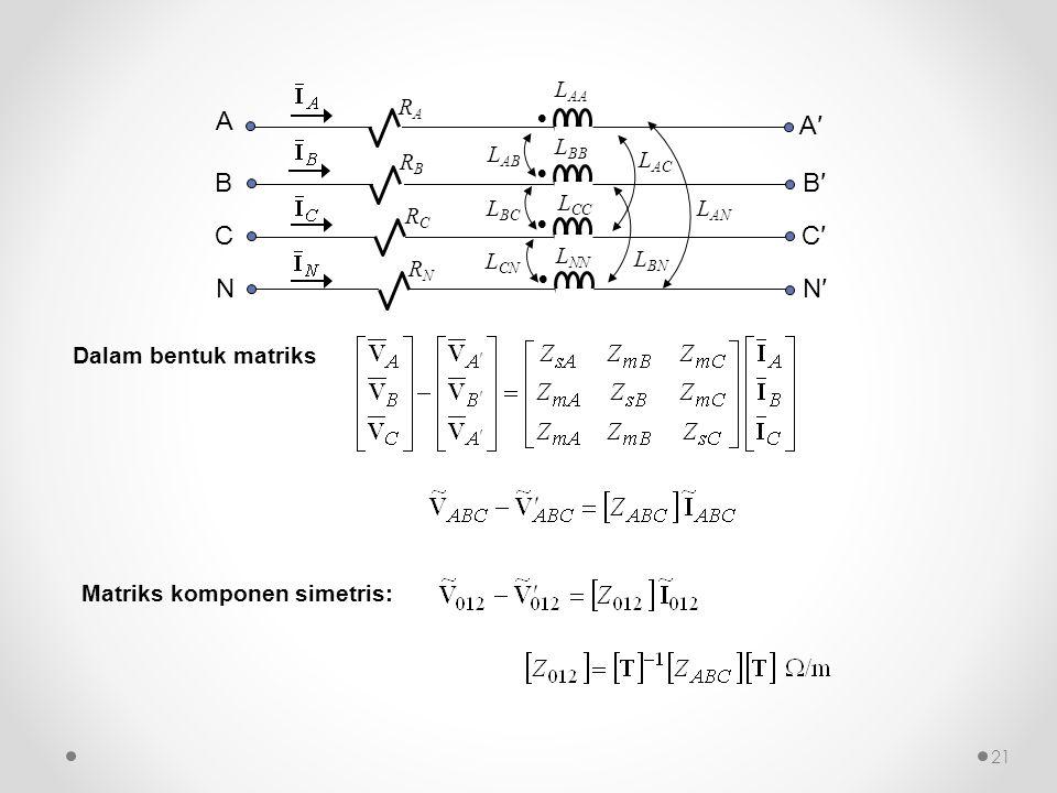    L AB L BC RCRC  L AA L BB L CC L NN L CN L AC L BN L AN RARA RBRB RNRN A B C NN′ C′ B′ A′ Dalam bentuk matriks Matriks komponen simetris: 21