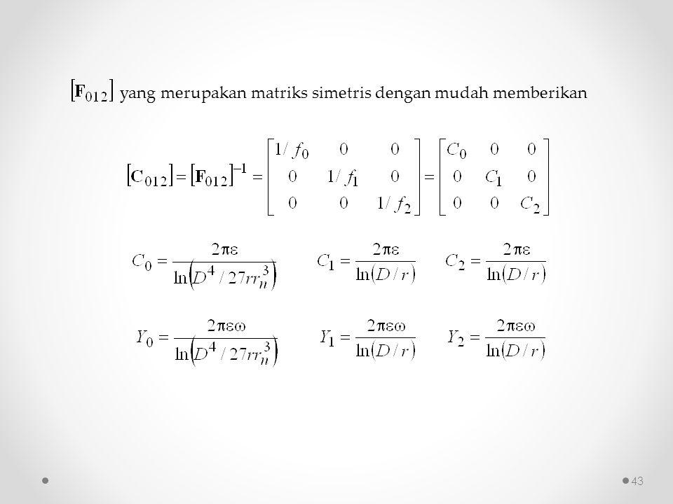 yang merupakan matriks simetris dengan mudah memberikan 43