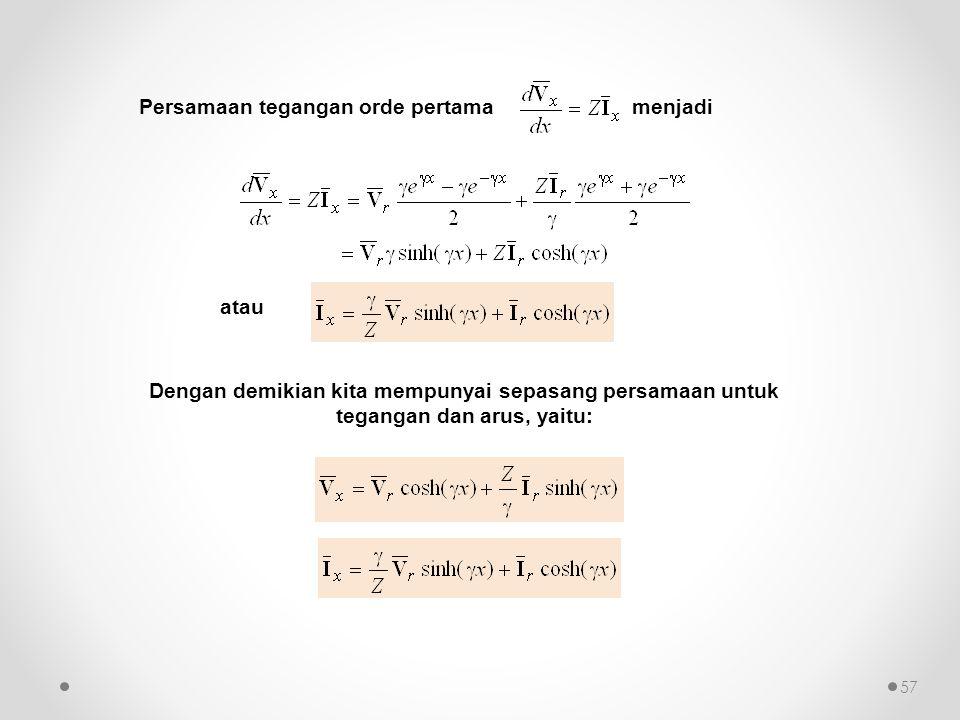Persamaan tegangan orde pertama menjadi atau Dengan demikian kita mempunyai sepasang persamaan untuk tegangan dan arus, yaitu: 57