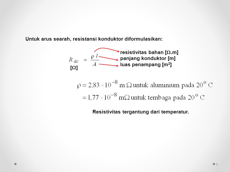 Untuk arus searah, resistansi konduktor diformulasikan: resistivitas bahan [ .m] panjang konduktor [m] luas penampang [m 2 ] [][] Resistivitas terg