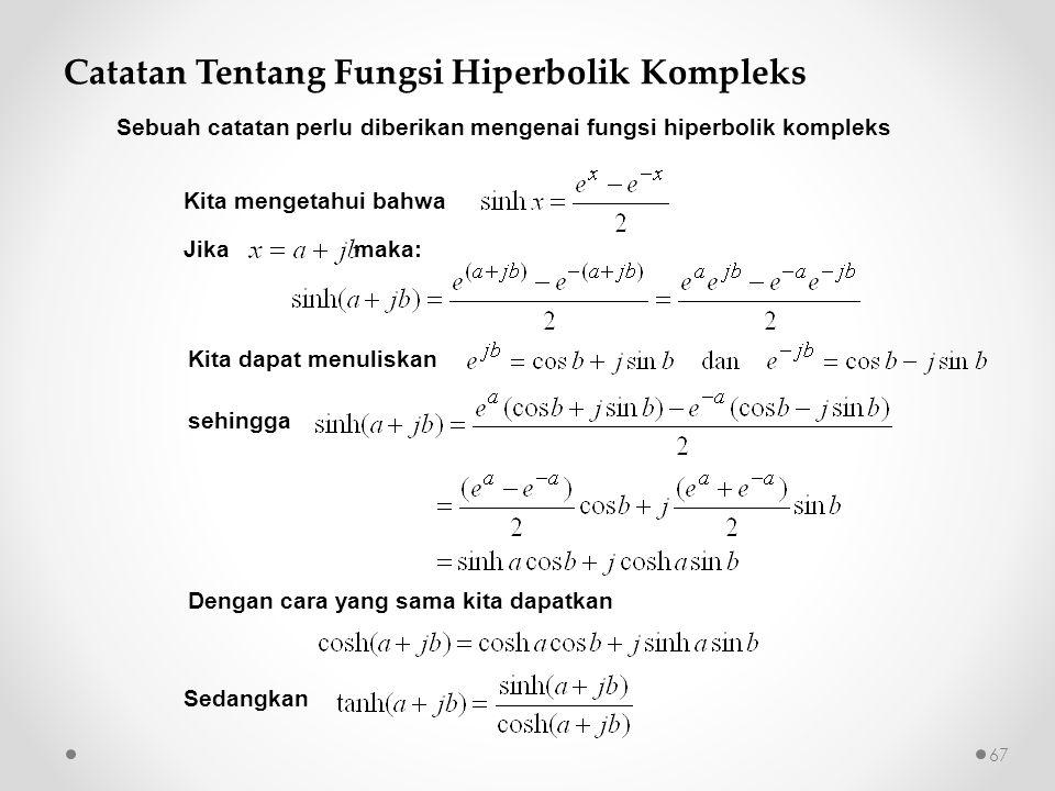 Catatan Tentang Fungsi Hiperbolik Kompleks Kita mengetahui bahwa Jika maka: Kita dapat menuliskan sehingga Dengan cara yang sama kita dapatkan Sedangk