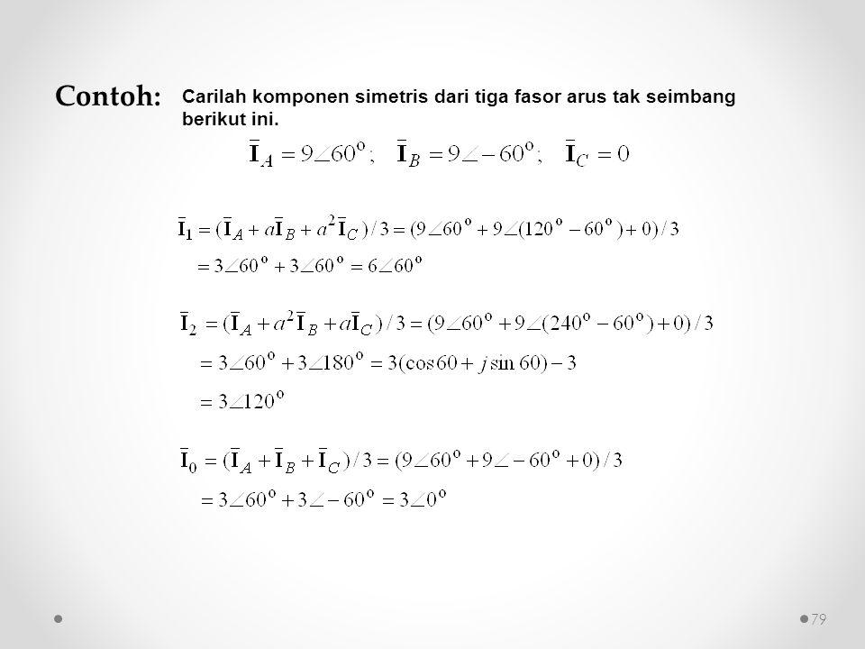 Contoh: Carilah komponen simetris dari tiga fasor arus tak seimbang berikut ini. 79