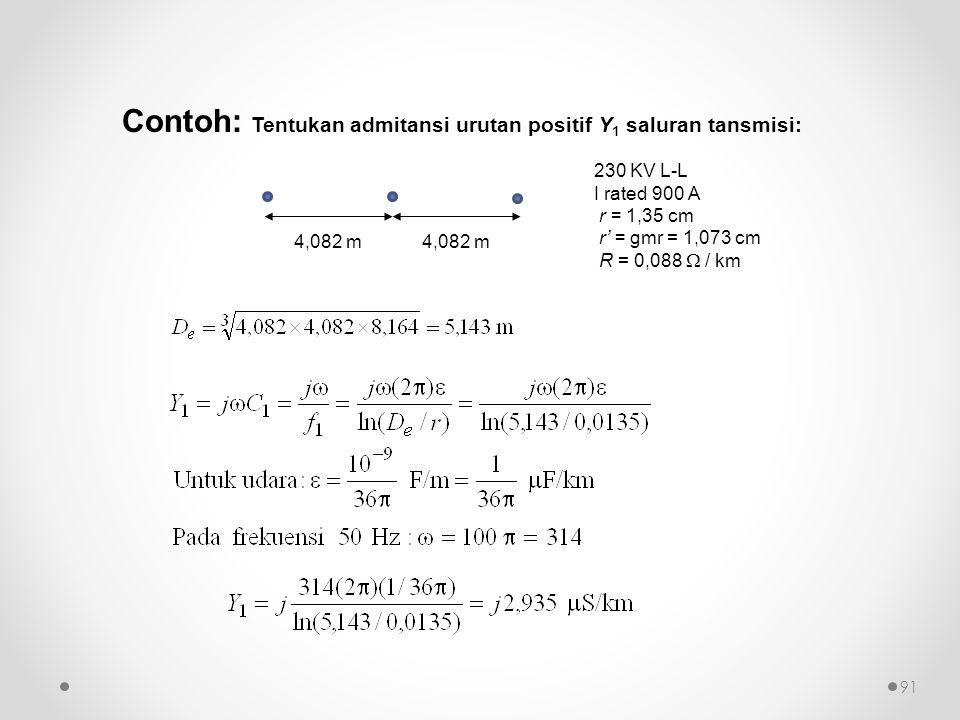 Contoh: Tentukan admitansi urutan positif Y 1 saluran tansmisi: 4,082 m 230 KV L-L I rated 900 A r = 1,35 cm r' = gmr = 1,073 cm R = 0,088  / km 91