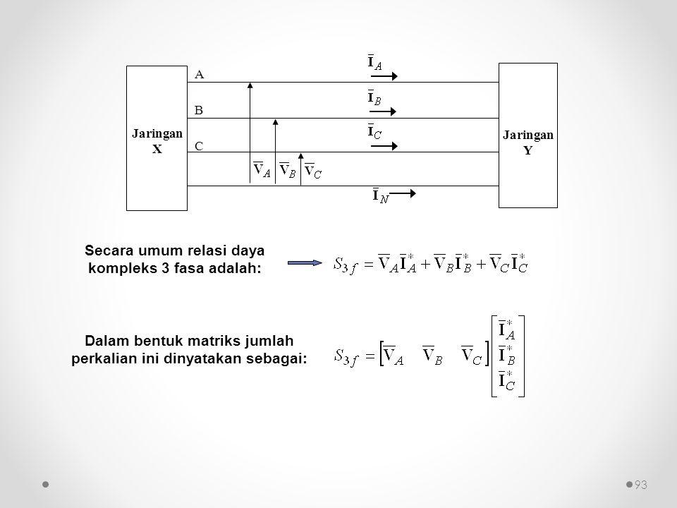 93 Secara umum relasi daya kompleks 3 fasa adalah: Dalam bentuk matriks jumlah perkalian ini dinyatakan sebagai: A B C Jaringan X Jaringan Y
