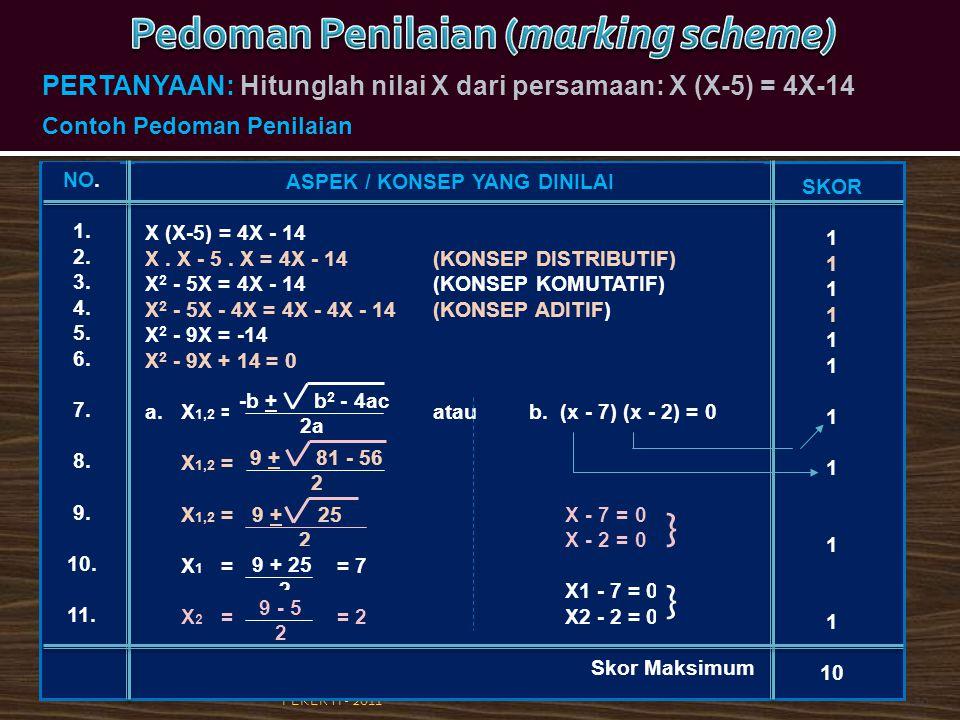 PEKERTI - 201120 ASPEK / KONSEP YANG DINILAI X (X-5) = 4X - 14 X. X - 5. X = 4X - 14 (KONSEP DISTRIBUTIF) X 2 - 5X = 4X - 14 (KONSEP KOMUTATIF) X 2 -