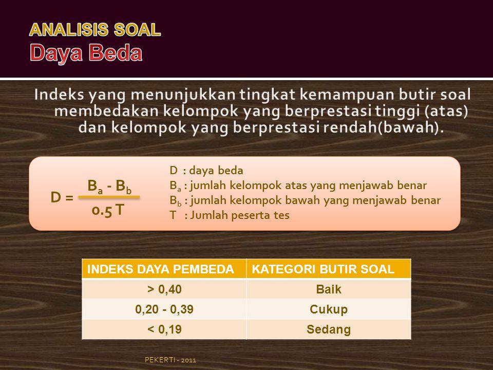 PEKERTI - 201131 D = B a - B b 0.5 T D : daya beda B a : jumlah kelompok atas yang menjawab benar B b : jumlah kelompok bawah yang menjawab benar T :
